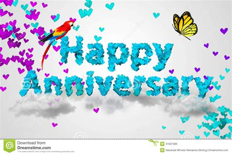 3d Happy Anniversary by Happy Anniversary Blue Shape 3d Stock Illustration
