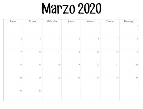 foto de Calendario Marzo 2020 Imprimible Diseño en 2020