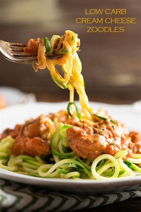 Just 6 ingredients, 10 minutes prep, and 15 minutes in the oven. Low Carb Cream Cheese Zoodles   Recipe   Low carb keto recipes, Keto recipes dinner, Zoodle recipes
