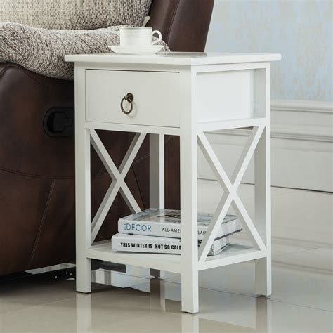 white sofa  side bedside table nightstand storage wood