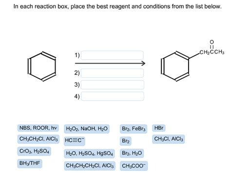 each reaction box place the best reagent and in each reaction box place the best reagent and