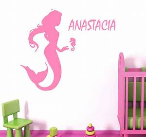 Wall decals vinyl decal mermaid personalized name sticker