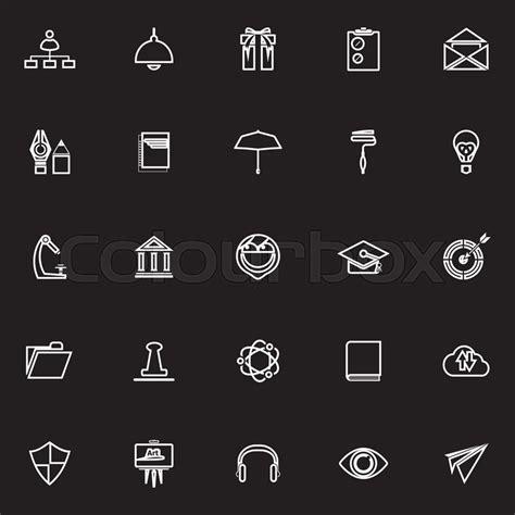 13306 black resume icons resume line icons on black background stock vector
