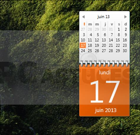 gadget bureau windows afficher un calendrier complet sur le bureau windows 7