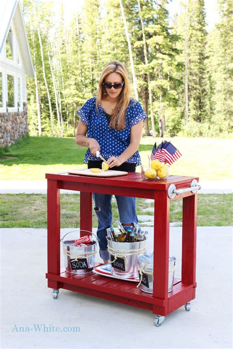 simple rolling bar cart ana white