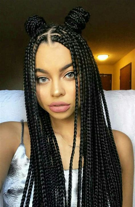 box braids   small bun classic box braid