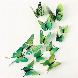 12Pcs 3D Green Butterfly Wall Stickers Art Decals Home