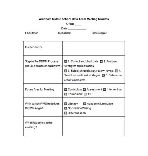 school meeting minutes template   word excel