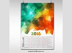 2016 calendar in polygonal design Vector Premium Download