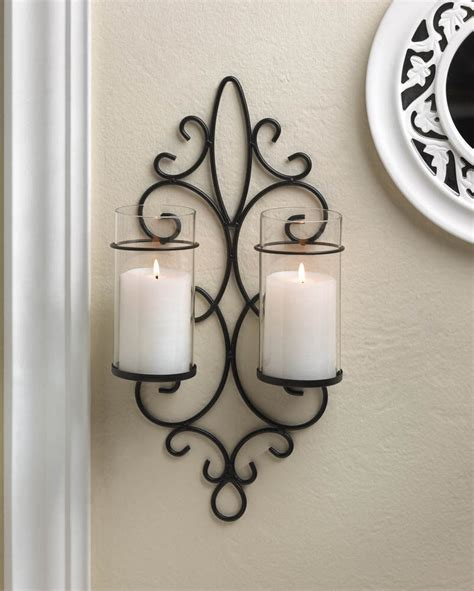 Iron Candle Sconce by Black Iron Scroll Artisanal Sconce Wall Mount Hurricane