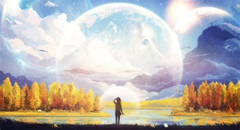 artwork fantasy art anime mountain moon forest
