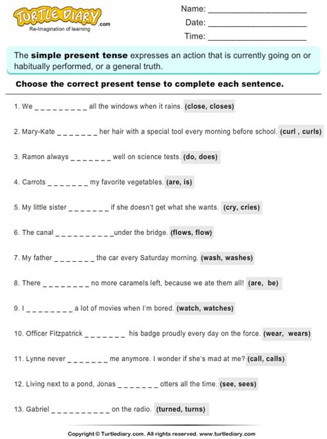 read sentences  choose correct present tense verb