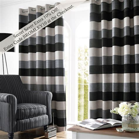 Black And Grey Curtains by Bromley Stripe Lined Eyelet Curtains Slate Curtains