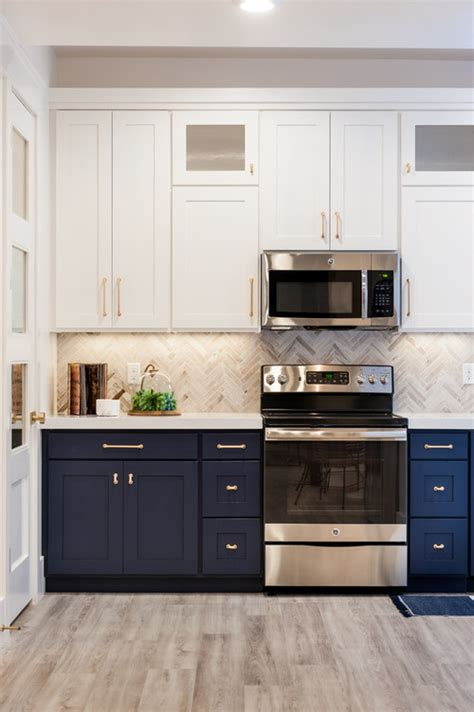 white and navy kitchen cabinets navy cabinets popular cabinet color trend bee of