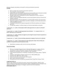 outbound sales description for resume branch logistics manager description