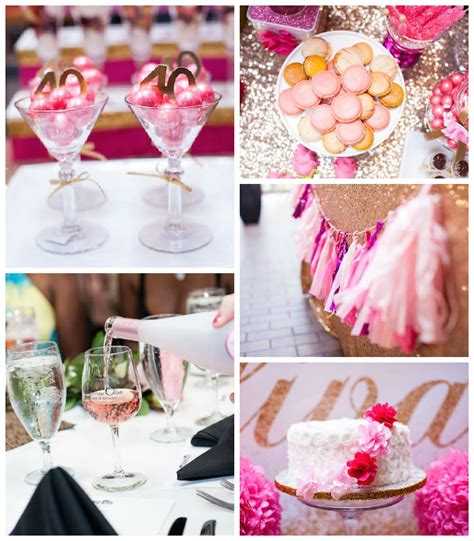 glamorous pink gold 40th birthday party