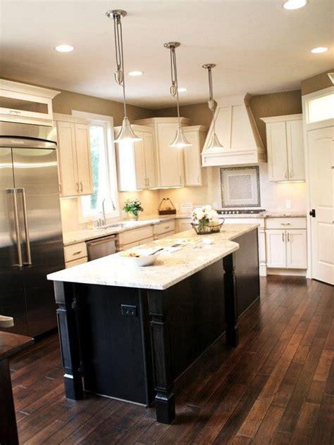 dark wood floor black  white cabinets  blackwhite