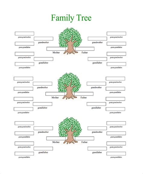 Family Tree Templates With Siblings by 18 Sle Family Tree Chart Templates Sle Templates