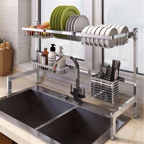 genius   stainless steel kitchen shelves drying rack kitchen kitchen organizer
