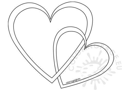 outline vector hearts coloring page