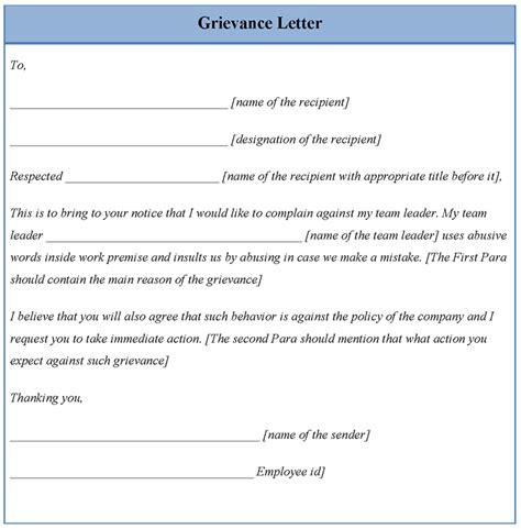 grievance letter template sle grievance letter best letter sle