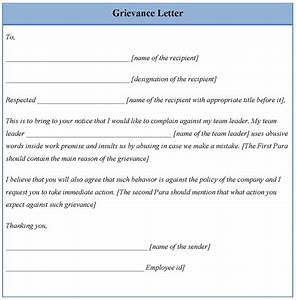 letter template for grievance example of grievance letter With template for grievance letter
