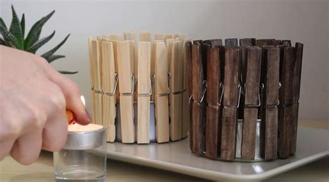 quick  cute clothespin candle holder home