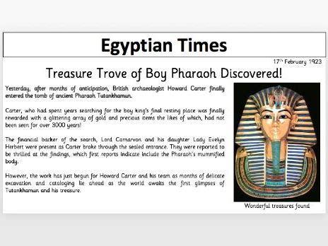tutankhamun newspaper template teaching resources
