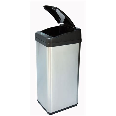 Kitchen Trash Can 9 Inches Wide by Itouchless 13 Gal Stainless Steel Square Wide Lid