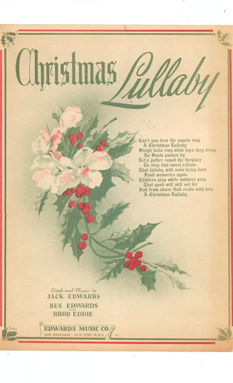 Pdf downloads for away in a manger, jingle bells, and much more. Vintage Christmas Lullaby Sheet Music Edwards Music Co.