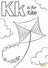 Kite Coloring Letter Pages Printable Preschool Drawing Alphabet Worksheet Supercoloring Abc Activities Kites Crafts Colouring Printables Sheet Key Kitten Craft sketch template