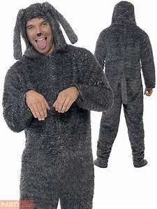 Adult Fluffy Dog Costume Mens Ladies Animal Fancy Dress ...