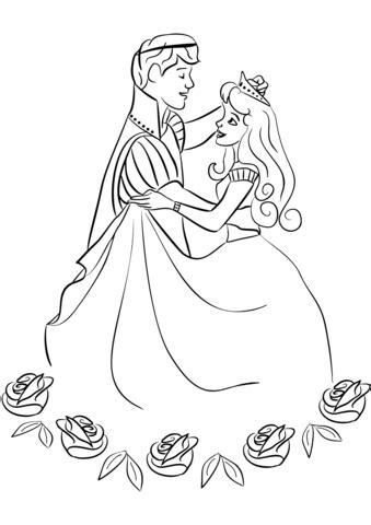 prince  princess dancing coloring page  printable