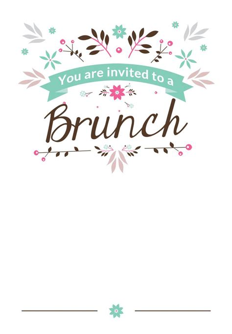 brunch invitation template  family friends printable