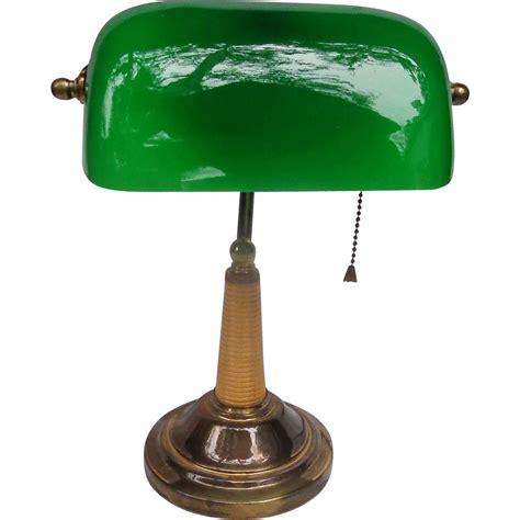 Classic Art Deco Bankers Lamp With Green Glass Shade From