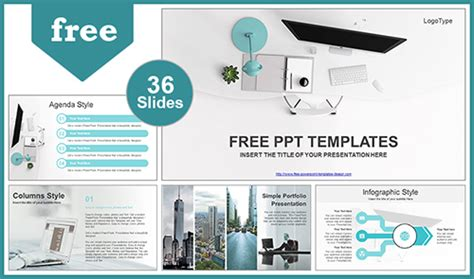 simple office computer view powerpoint template