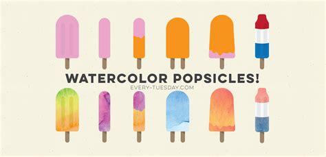 create  watercolor popsicle  illustrator