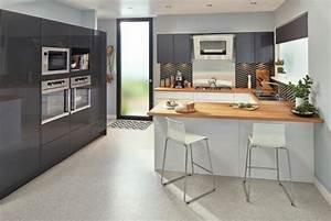 ophreycom cuisine blanche plan de travail gris With idee deco cuisine avec gris anthracite cuisine