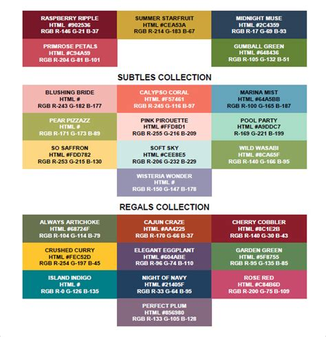vba color codes 9 sle rgb color chart templates sle templates