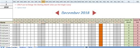 employee vacation tracker template excel word