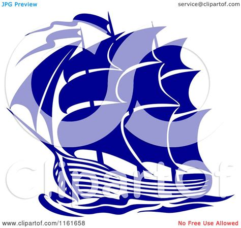 Clipart of a Blue Galleon Ship - Royalty Free Vector ...