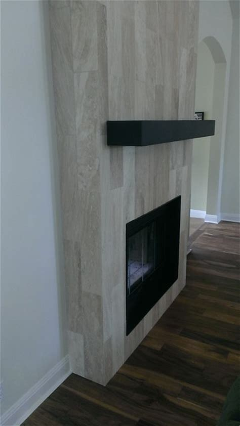 "Fireplace   6"" x 24"" Travertine Plank Tile   Contemporary"
