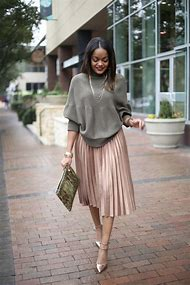Black Pleated Midi Skirt Outfit