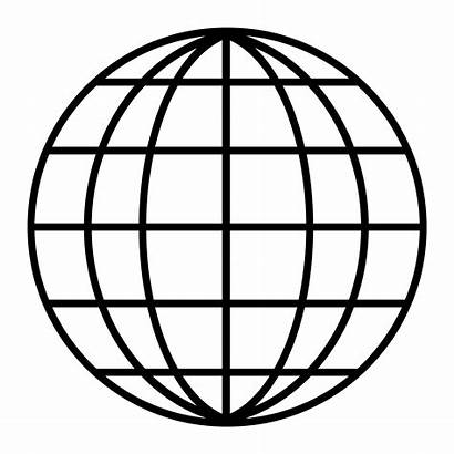Globe Earth Line Drawing Grid Outline Clipart