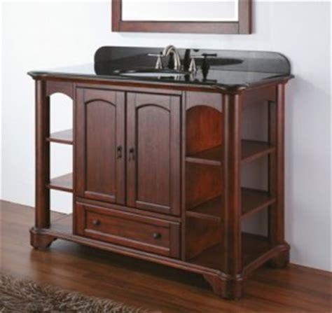 selection of open shelf bathroom vanities introduced by