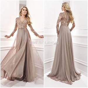 chiffon dresses for wedding long sleeve evening gown with With long sleeve champagne wedding dress