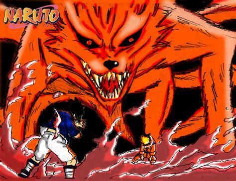 Sasuke Vs Naruto N Kyubi By Redcolour On Deviantart