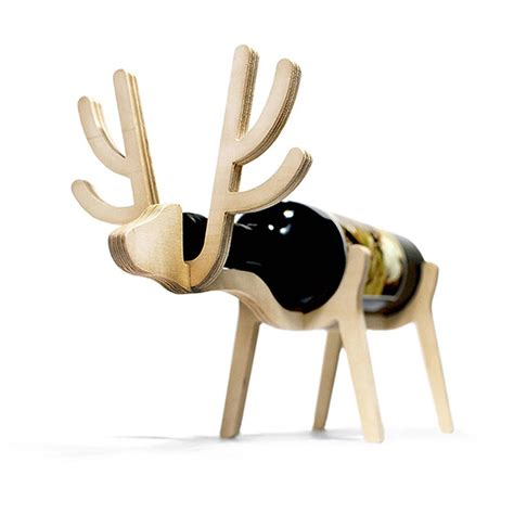 personalised reindeer wine rack wine rack and wine