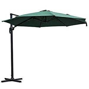 outdoor offset patio umbrella 10 foot green with stand