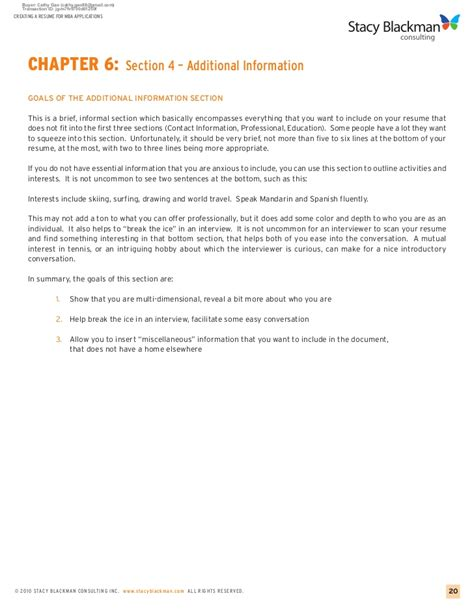 Additional Information Resume by Creating A Resume For Mba Applications